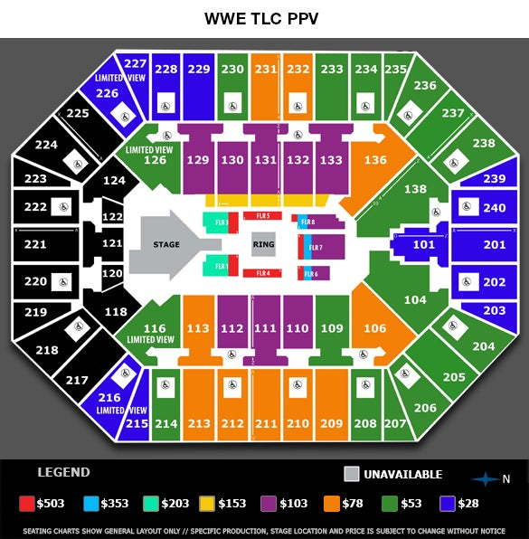 WWE Tables, Ladders & Chairs Seating Chart